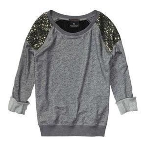 Maison Scotch Gray Sequins Shoulder Pads Sweater